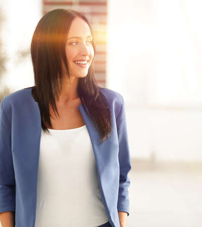 attractive female business executive in modern office Stock Photo