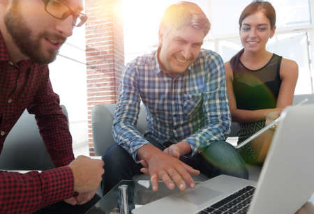 Group of creative worker brainstorm together in office