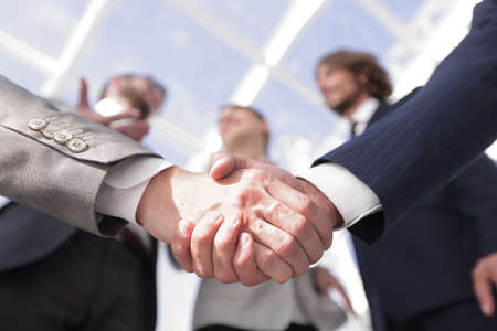 in the foreground.handshake of business partners Banque d'images