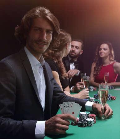 group of sinister poker players Reklamní fotografie