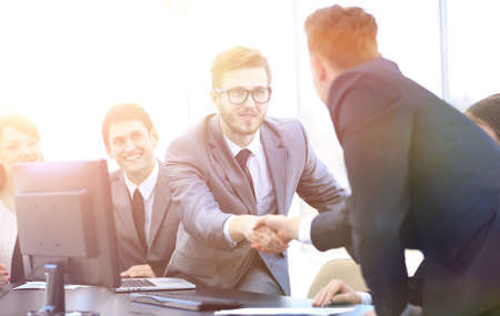 handshake business partners at a business meeting Stock Photo
