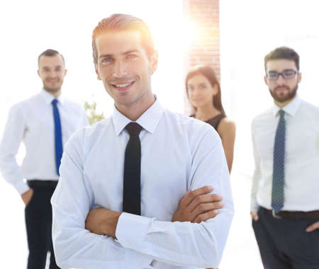 portrait of a successful business person on the background of co Stock Photo