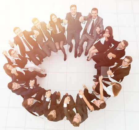 concept of team building .large successful business team sitting