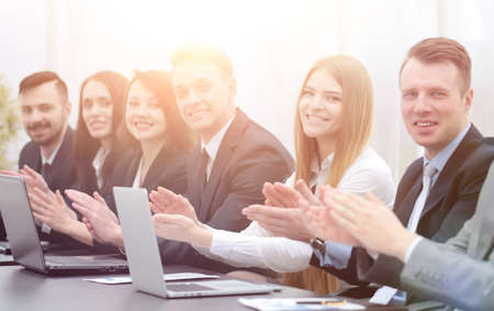 business team applauding the speaker at the workshop Stock Photo
