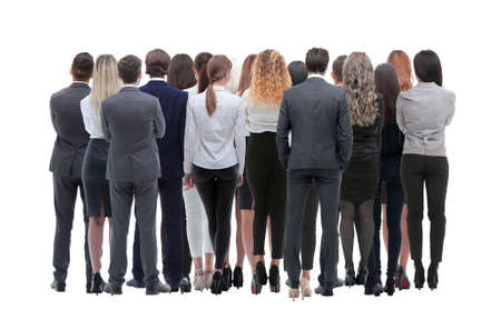 Back view group of business people. Rear view. Isolated over white background. 스톡 콘텐츠