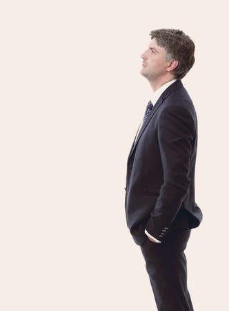 side view. Portrait of serious businessman.
