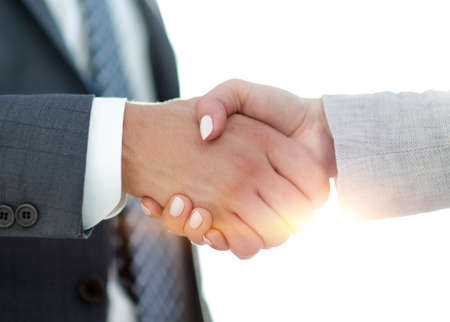 Businessmen handshaking after successful business meeting Stock Photo