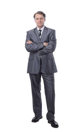 in all growth.Serious man in suit holding jacket Stock Photo
