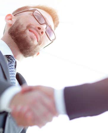 Businessmen making handshake - business etiquette, congratulatio Stock Photo
