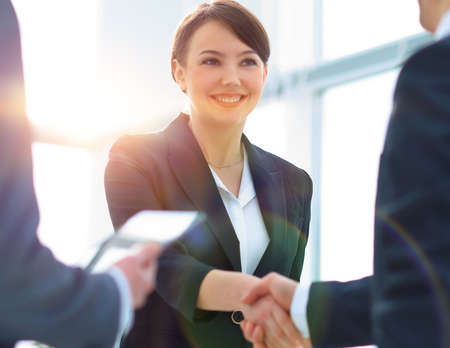 Businesswoman shaking hands with a businssman during a meeting Banque d'images