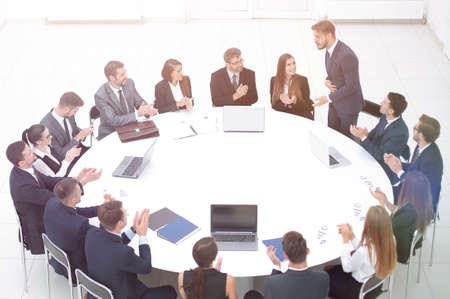 business people applauding speaker at a business meeting. Stok Fotoğraf