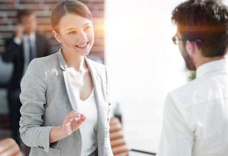 business meeting business women with a business partner Stock Photo