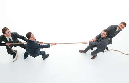 top view.a tug of war between business teams