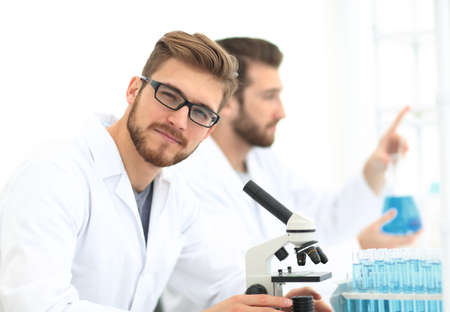 closeup. a biologist working in the laboratory Stock Photo