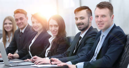 business team sitting at Desk in the conference room Stock Photo