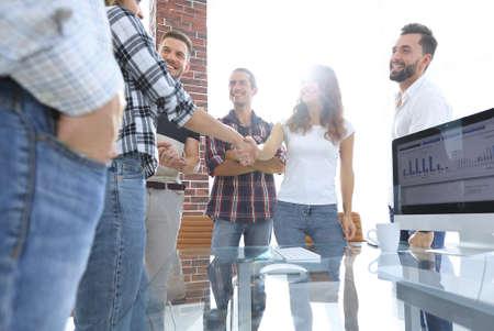 handshake of young people