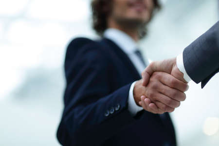 Shake hands, agreed to between the two men in the businesses. Stock Photo