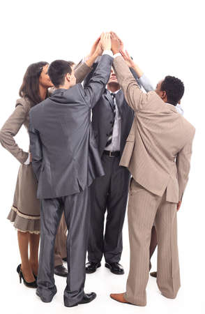 successful business team raising hands together up Stock Photo