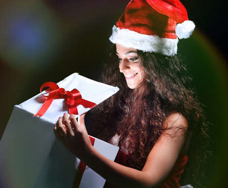 christmas woman with gifts box Stock Photo