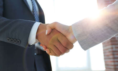 Excited smiling businessman handshaking partner at meeting, Banque d'images