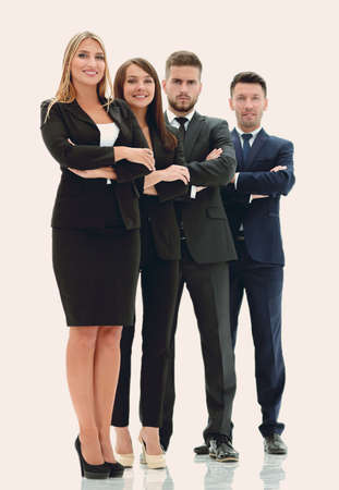 in full growth .confident business team.isolated on white
