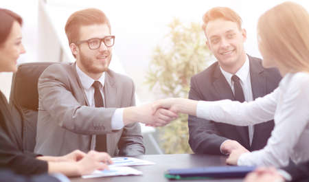 handshake of business people in office Stock Photo