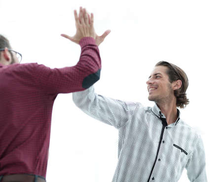 two business men giving each other a high five.