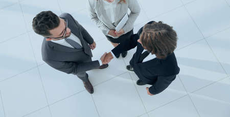 Business men shaking hands making an agreement Stock Photo