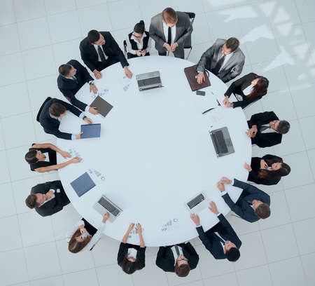 view from the top.meeting business partners for round - table. Stock Photo
