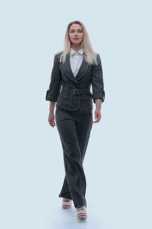 confident business woman walking forward. Stock Photo