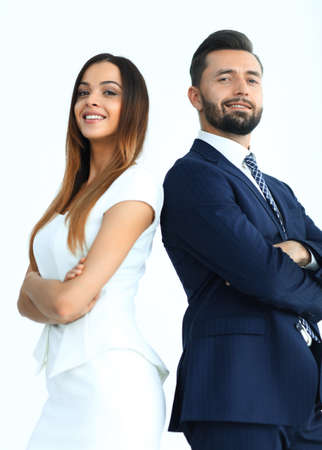 Portrait of business people back to back against white background