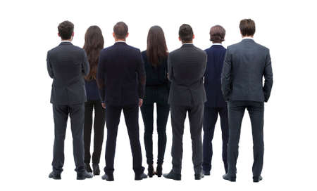 Back view group of business people. Rear view. Isolated over white background. Standard-Bild