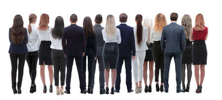 Back view group of business people. Rear view