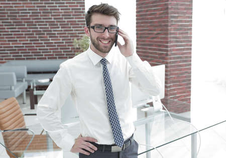 Manager talking to a customer on the phone Stock Photo