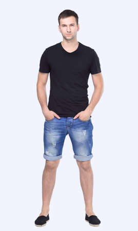 stylish guy in shorts and a t-shirt