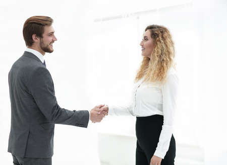 handshake Manager and client on blurred background Stock Photo