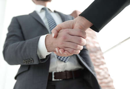 Business executives to congratulate the joint business agreement