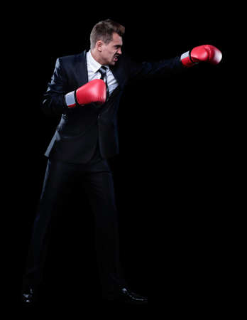 businessman in red Boxing gloves Stock Photo