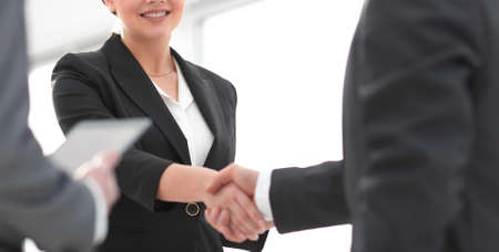Businesswoman shaking hands with a businssman during a meeting Stock Photo