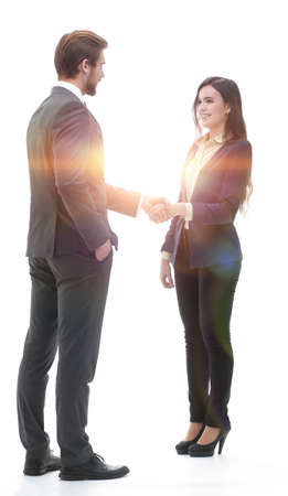 Business people shaking hands, isolated on white.