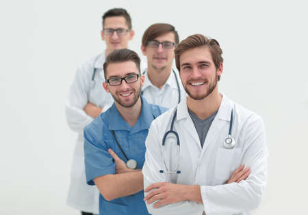 group of successful doctors .isolated on white
