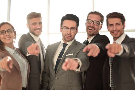 Smiling Diverse Business Team Pointing at You