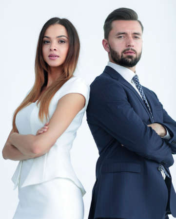 Portrait of business people back to back against white backgroun Stok Fotoğraf