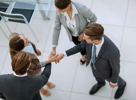 top view.handshake business partners Stock Photo