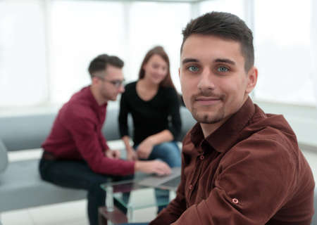 employee on the background of business team