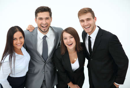 happy business team.isolated on a white background.