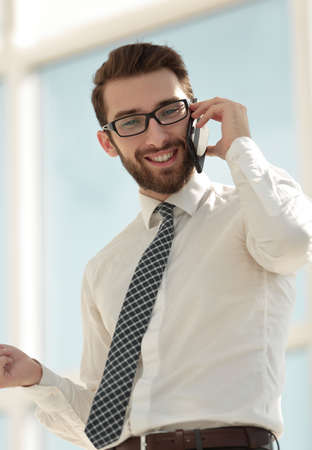 close up.businessman talking on the phone. Stock Photo