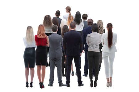 Back view group of business people. Rear view. Isolated over white background. Imagens