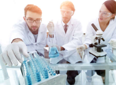 Portrait of a group of researchers conducting research Stock Photo