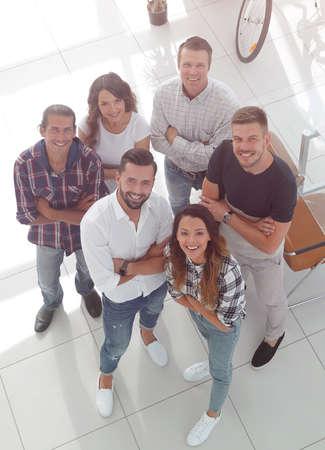 business team standing near the desktop